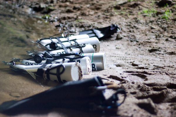 decompression stage cylinders ready before a cave dive